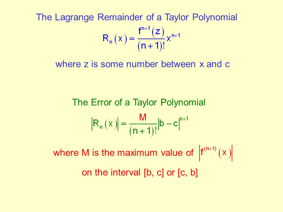 The Lagrange Remainder of a Taylor Polynomial