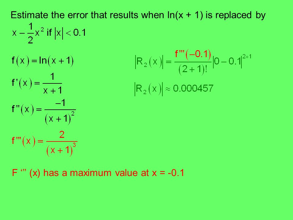 Estimate the error that results when ln(x + 1) is replaced by