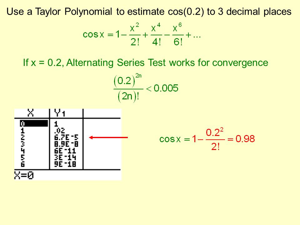 Use a Taylor Polynomial to estimate cos(0.2) to 3 decimal places