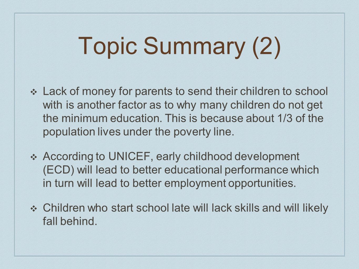 Topic Summary (2)