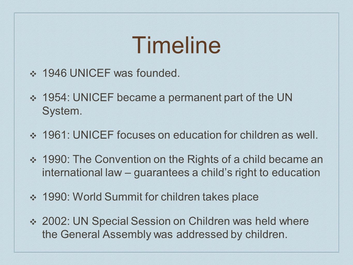 Timeline 1946 UNICEF was founded.