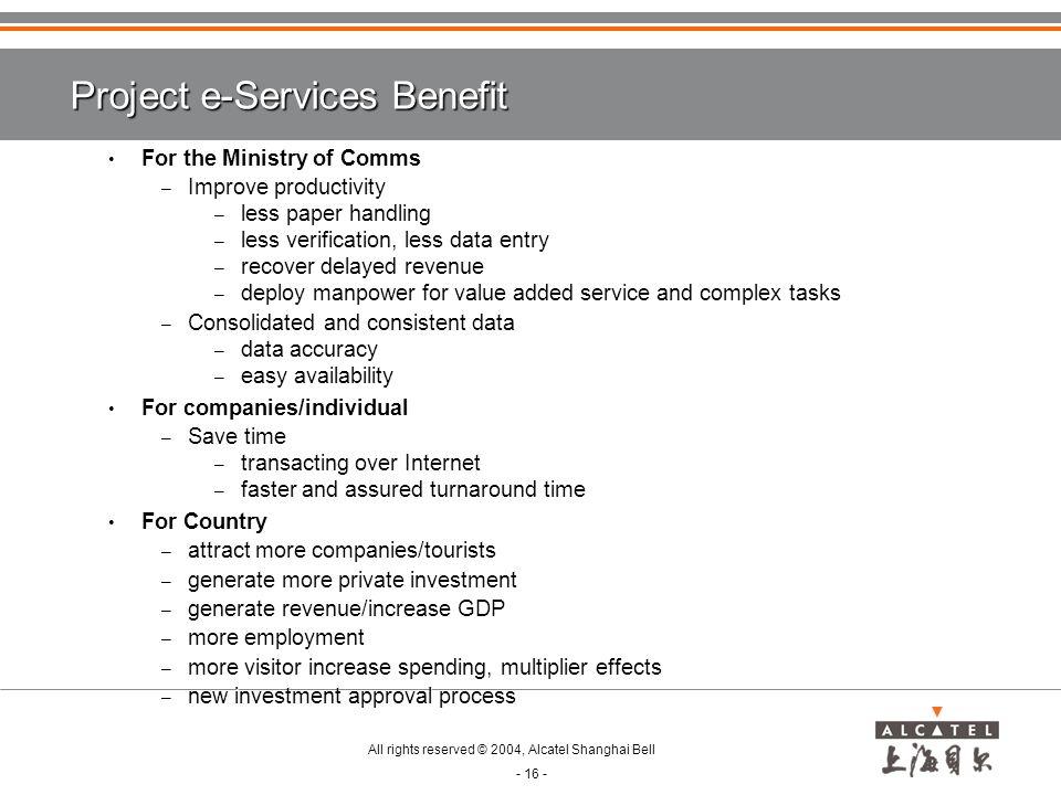 Project e-Services Benefit