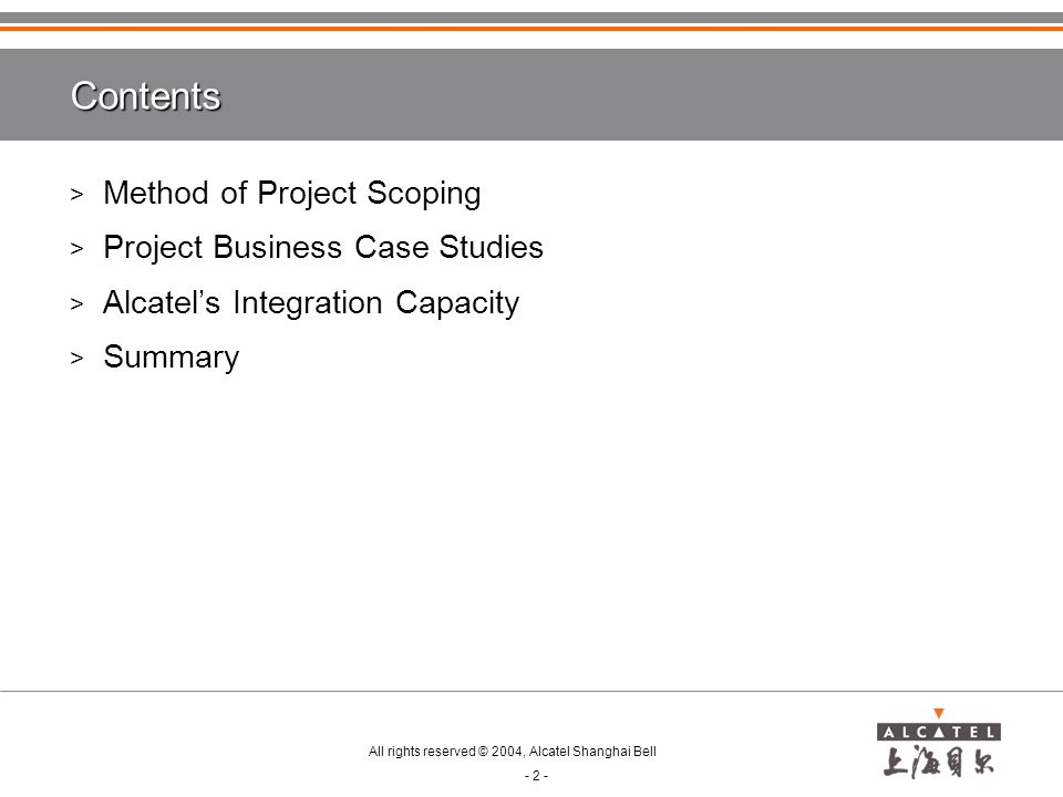 Contents Method of Project Scoping Project Business Case Studies