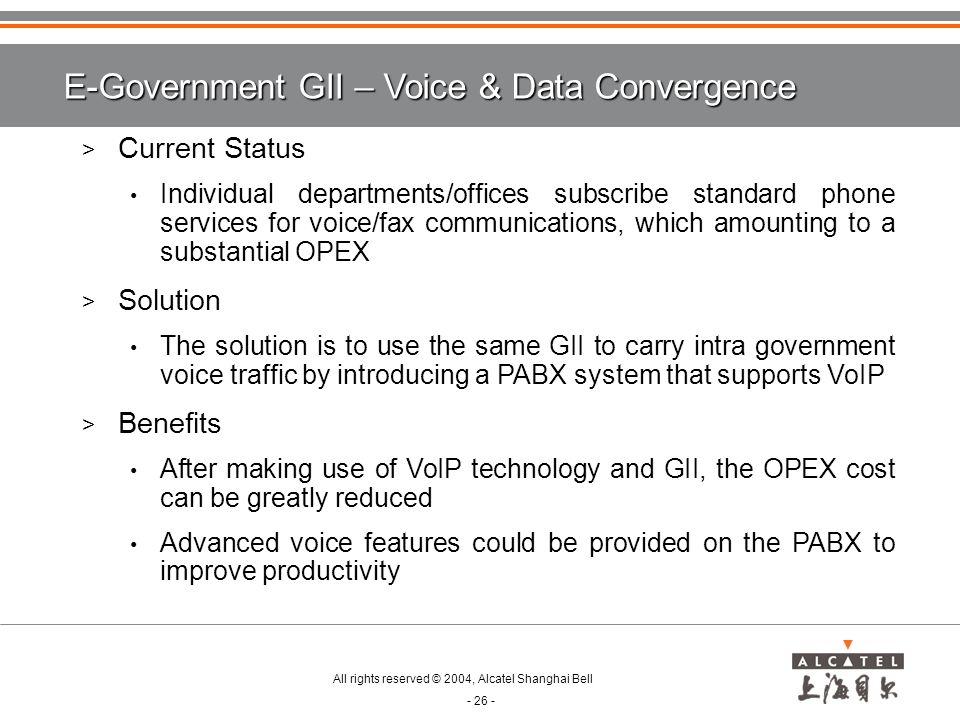 E-Government GII – Voice & Data Convergence
