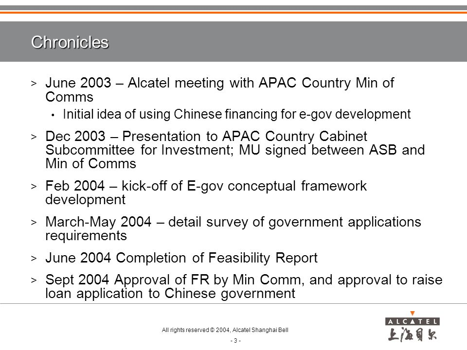 Chronicles June 2003 – Alcatel meeting with APAC Country Min of Comms