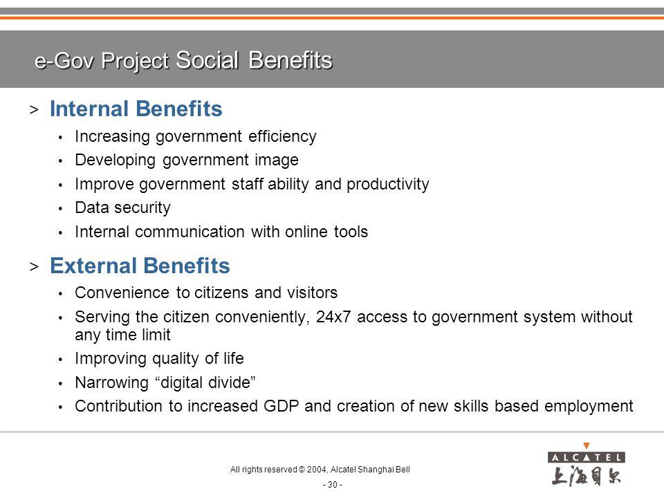 e-Gov Project Social Benefits