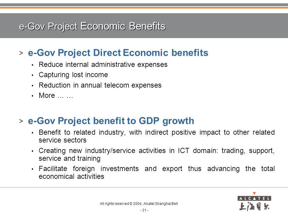 e-Gov Project Economic Benefits