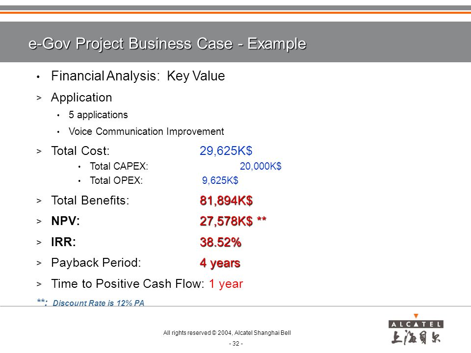e-Gov Project Business Case - Example