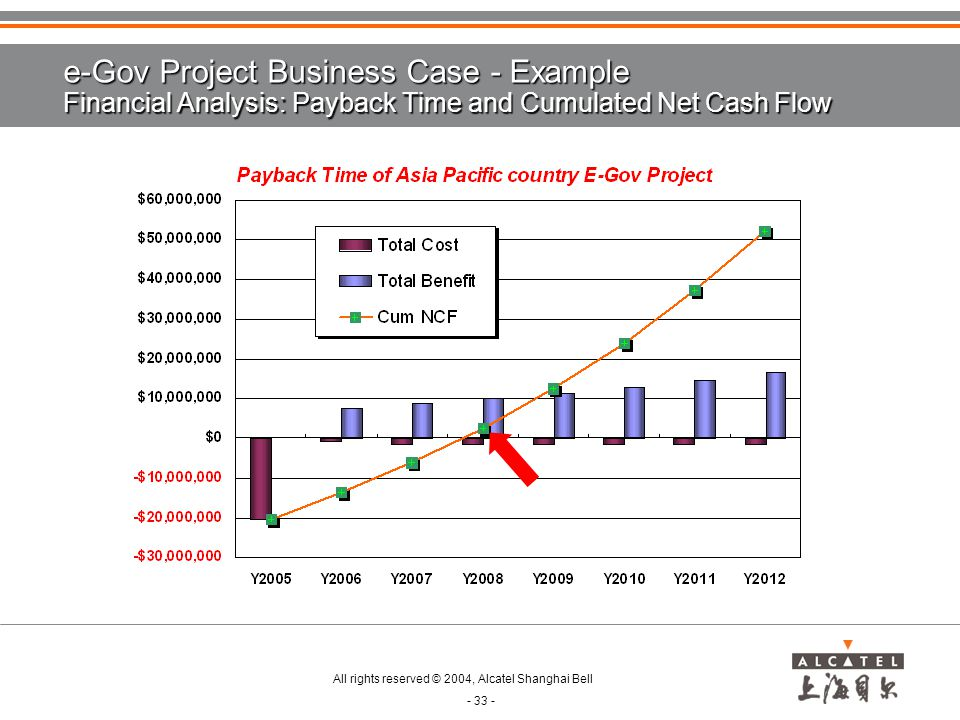 e-Gov Project Business Case - Example Financial Analysis: Payback Time and Cumulated Net Cash Flow