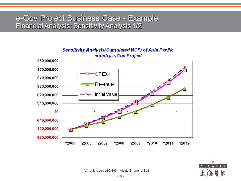 e-Gov Project Business Case - Example Financial Analysis: Sensitivity Analysis 1/2