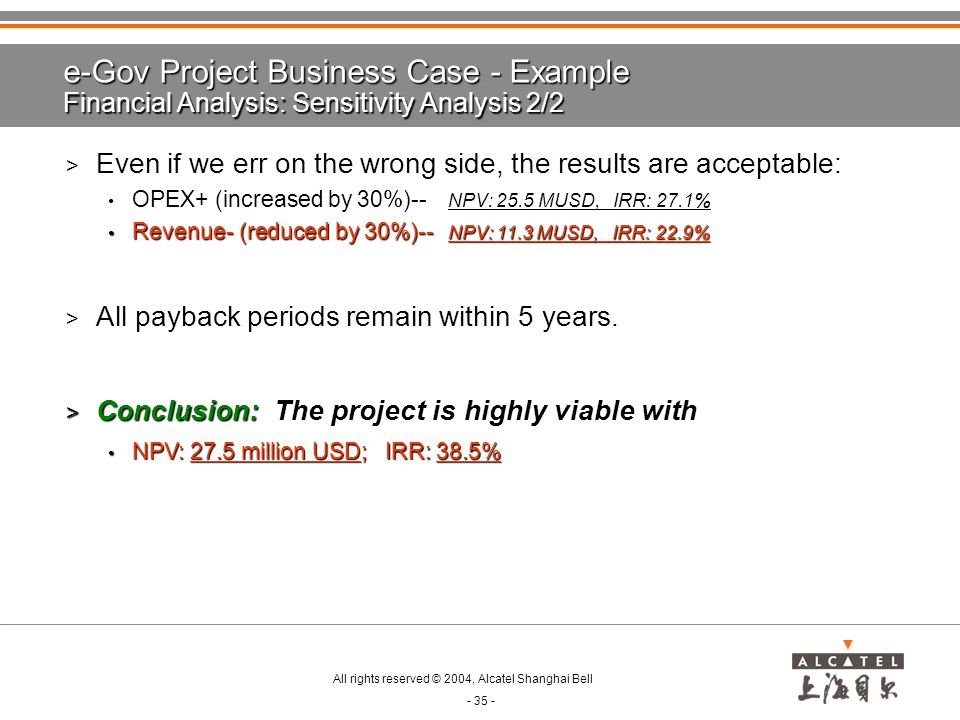 e-Gov Project Business Case - Example Financial Analysis: Sensitivity Analysis 2/2