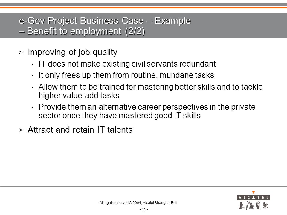e-Gov Project Business Case – Example – Benefit to employment (2/2)