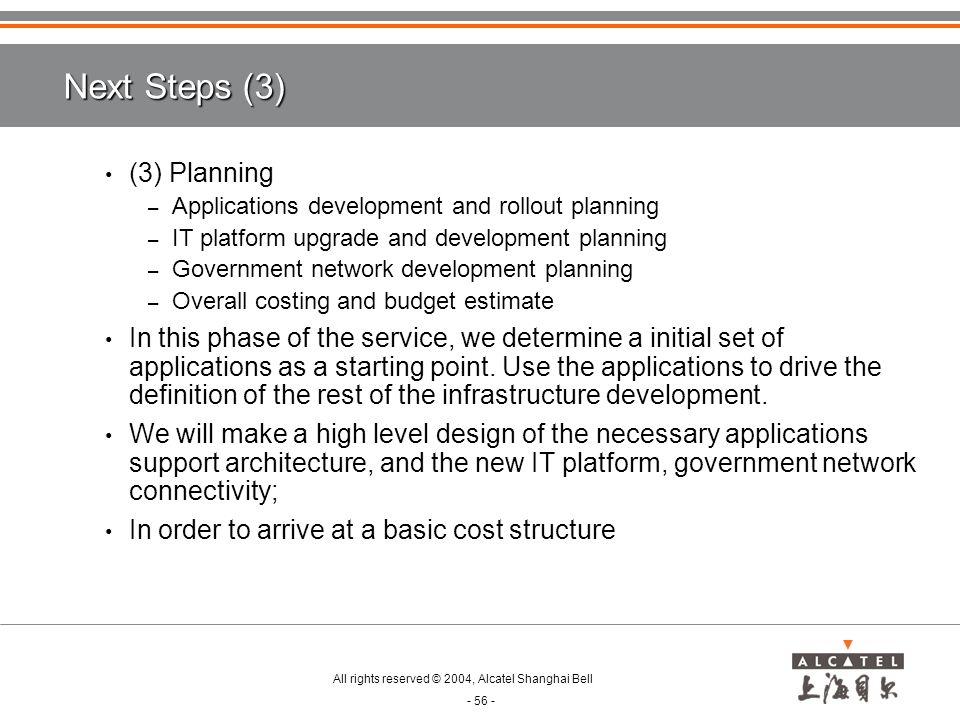 Next Steps (3) (3) Planning