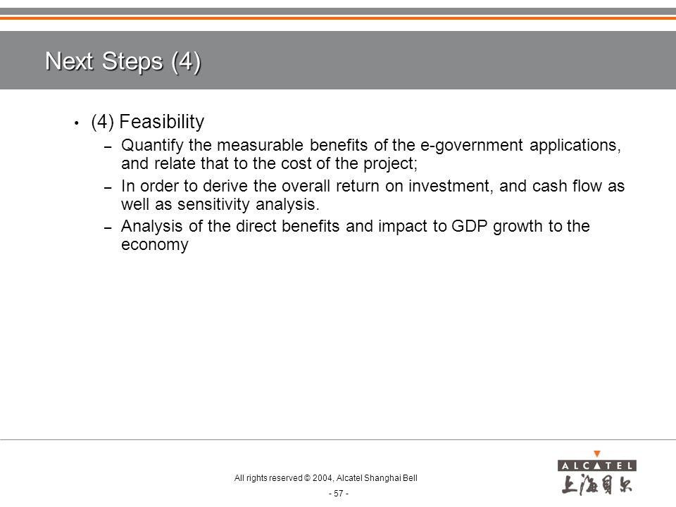 Next Steps (4) (4) Feasibility