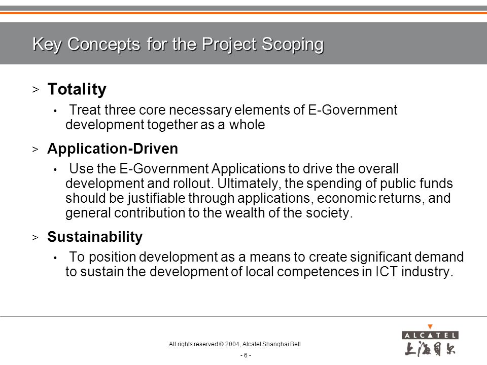 Key Concepts for the Project Scoping