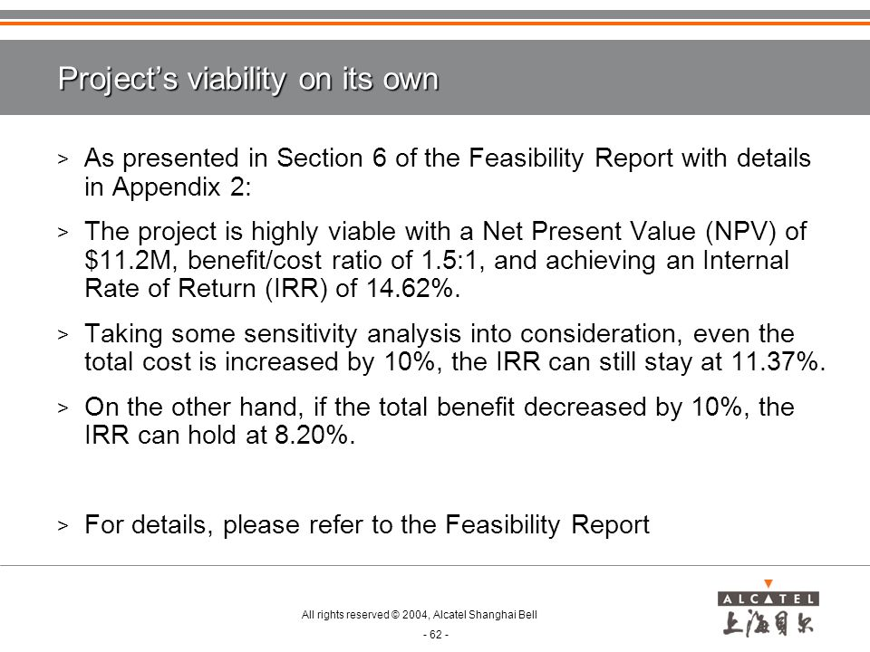 Project's viability on its own