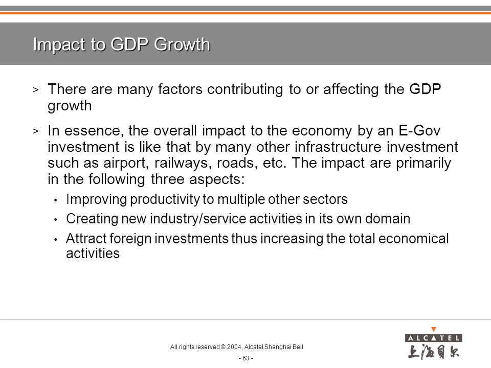 Impact to GDP Growth There are many factors contributing to or affecting the GDP growth.