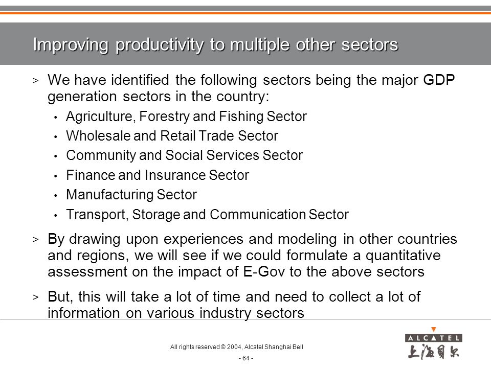 Improving productivity to multiple other sectors