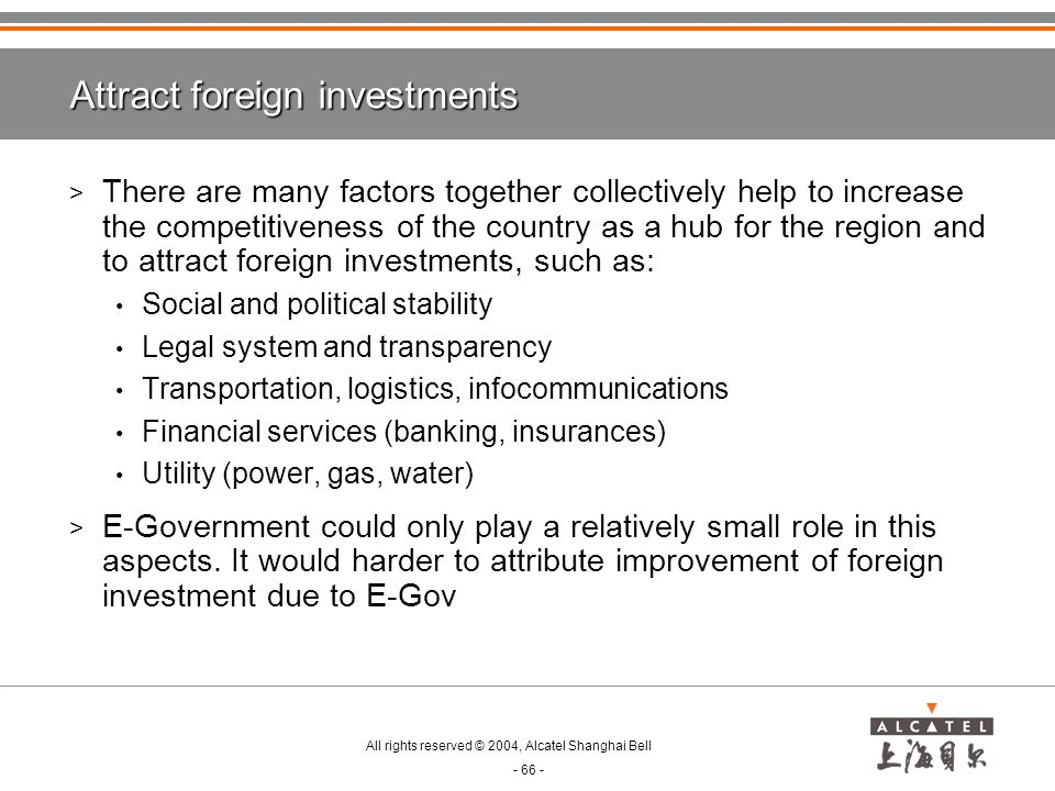 Attract foreign investments