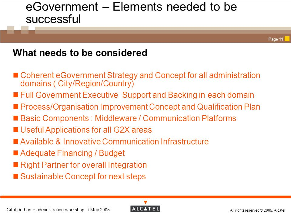 eGovernment – Elements needed to be successful