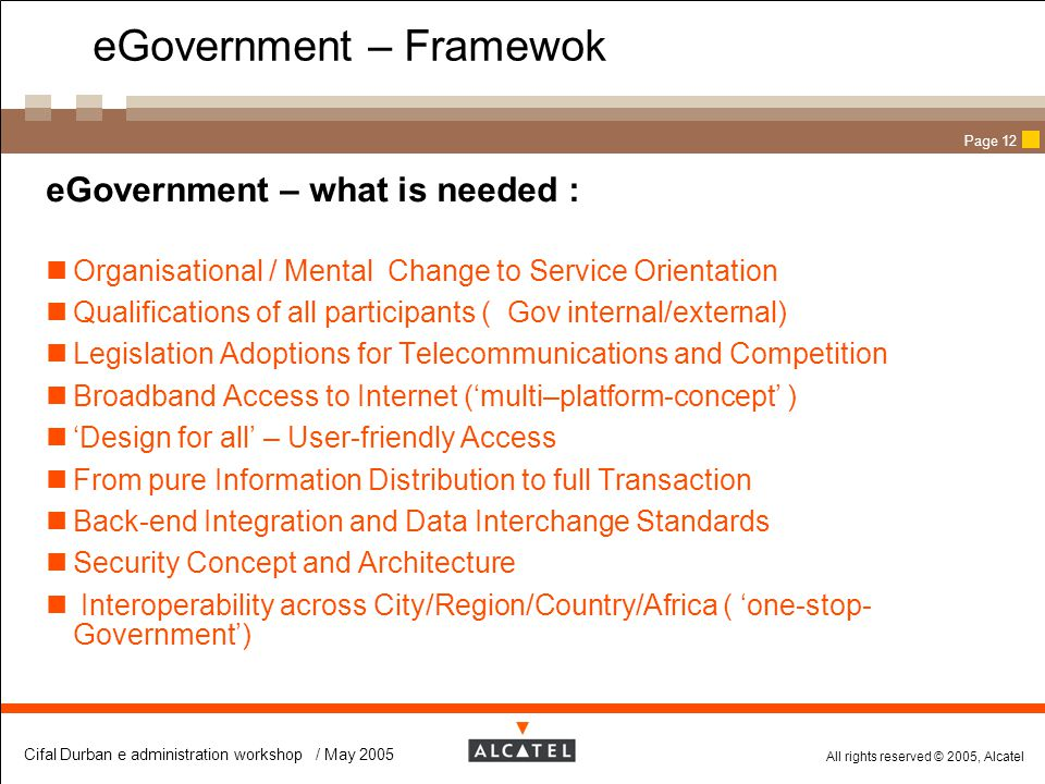 eGovernment – Framewok