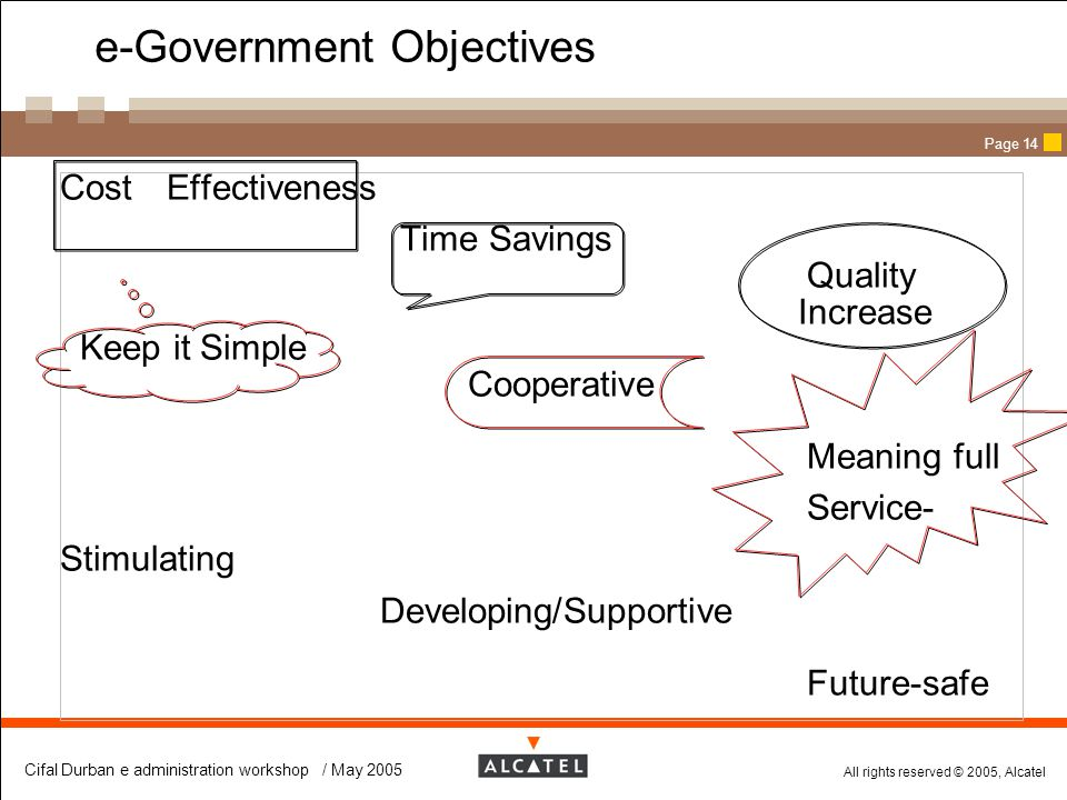 e-Government Objectives