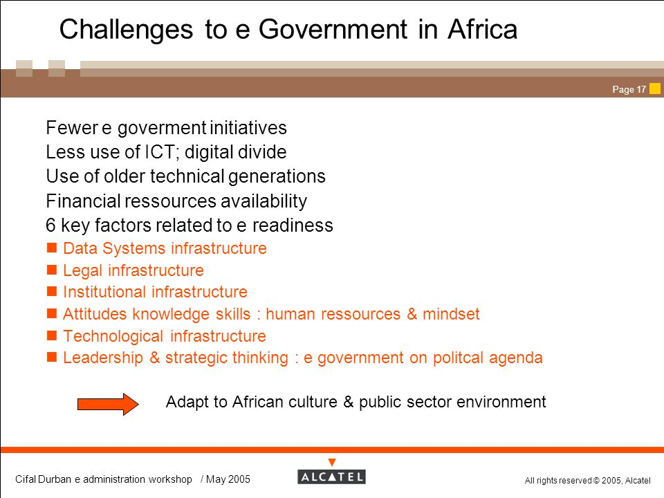 Challenges to e Government in Africa