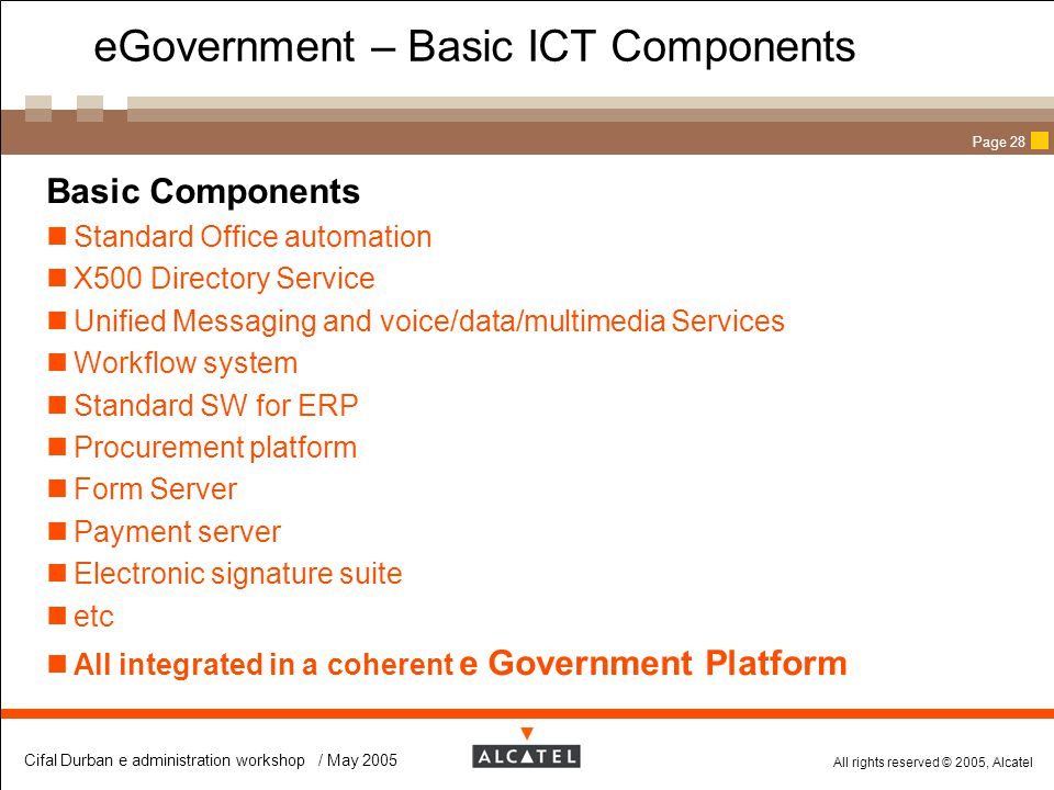 eGovernment – Basic ICT Components