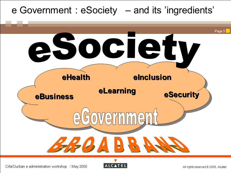 e Government : eSociety – and its 'ingredients'