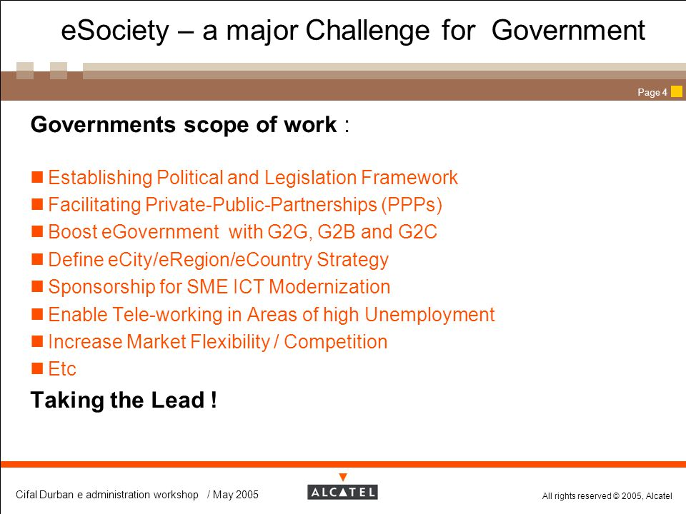 eSociety – a major Challenge for Government
