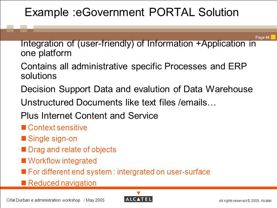 Example :eGovernment PORTAL Solution