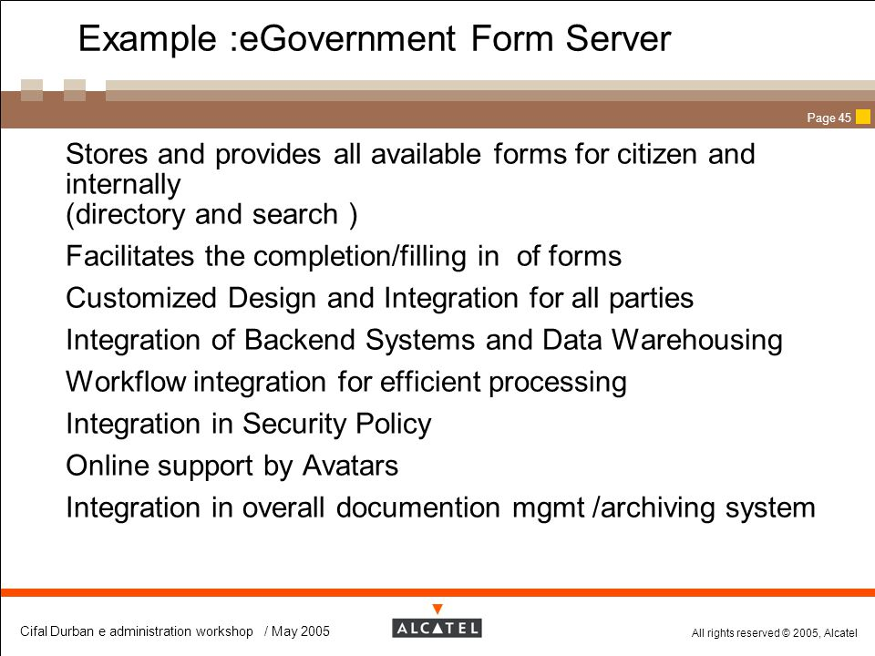 Example :eGovernment Form Server
