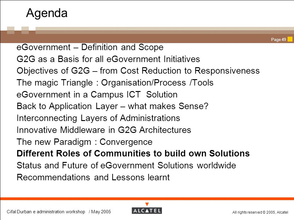 Agenda eGovernment – Definition and Scope