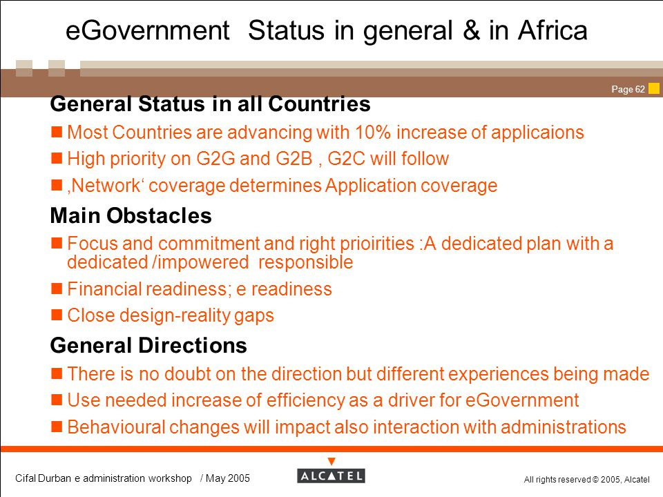 eGovernment Status in general & in Africa