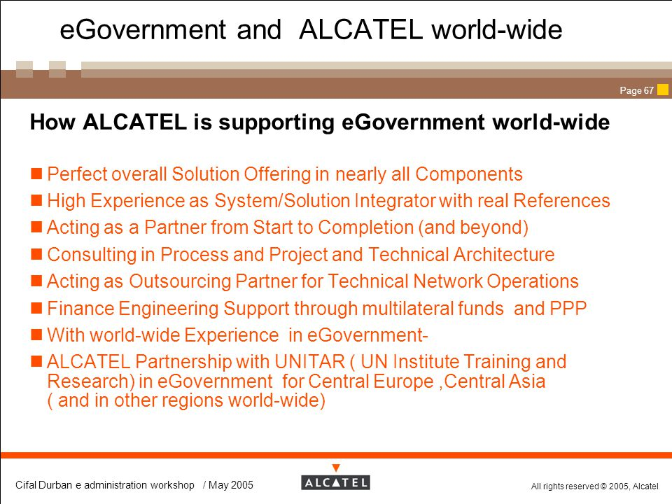 eGovernment and ALCATEL world-wide
