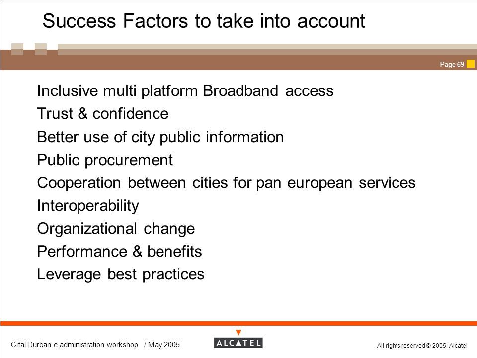 Success Factors to take into account