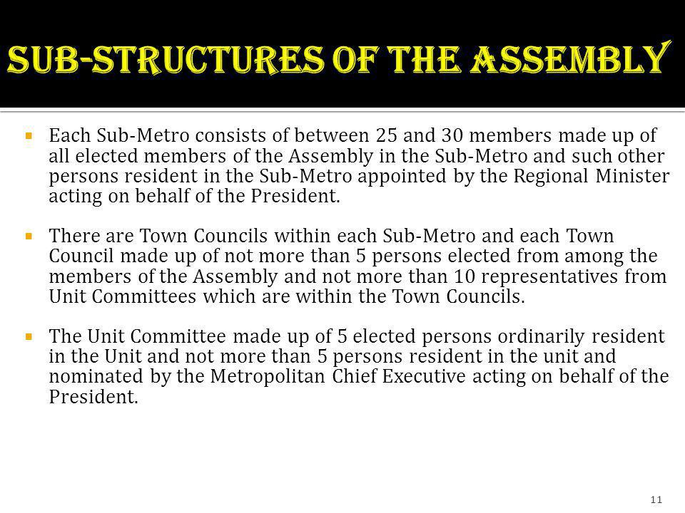 SUB-STRUCTURES OF THE ASSEMBLY