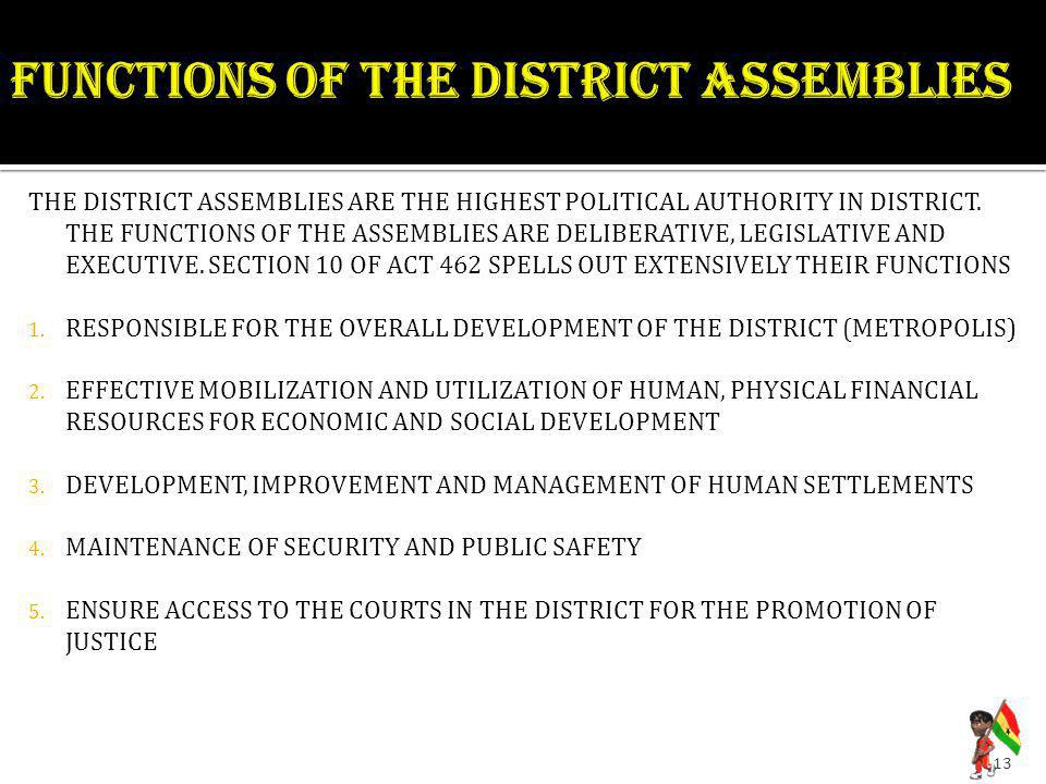 FUNCTIONS OF THE DISTRICT ASSEMBLIES