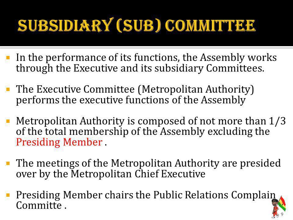 SUBSIDIARY (sUB) COMMITTEE