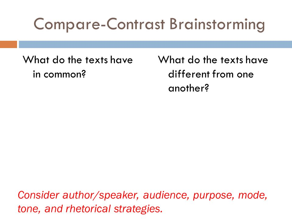 Compare-Contrast Brainstorming