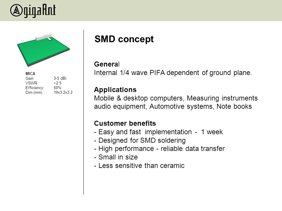 SMD concept General Internal 1/4 wave PIFA dependent of ground plane.