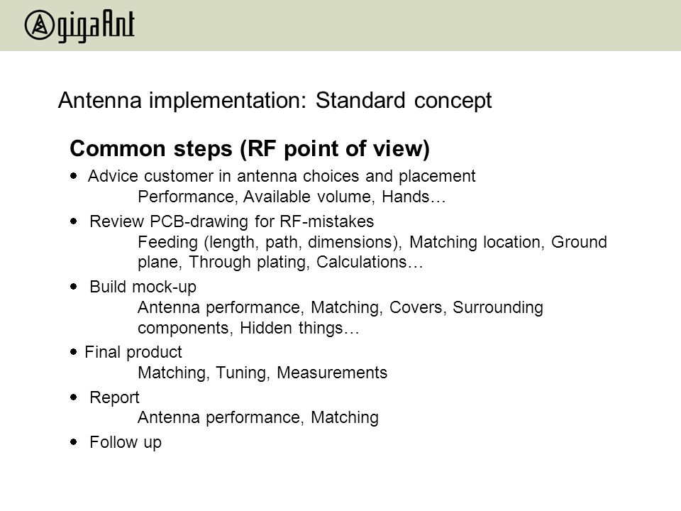 Antenna implementation: Standard concept