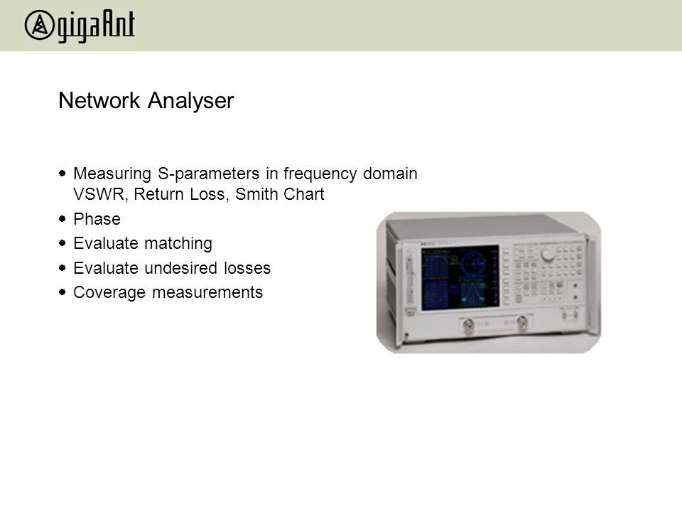 Network Analyser Measuring S-parameters in frequency domain VSWR, Return Loss, Smith Chart. Phase.