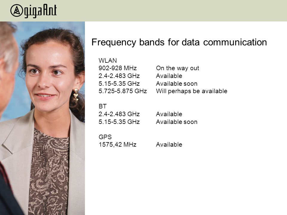 Frequency bands for data communication