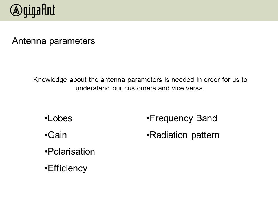 Antenna parameters Lobes Gain Polarisation Efficiency Frequency Band