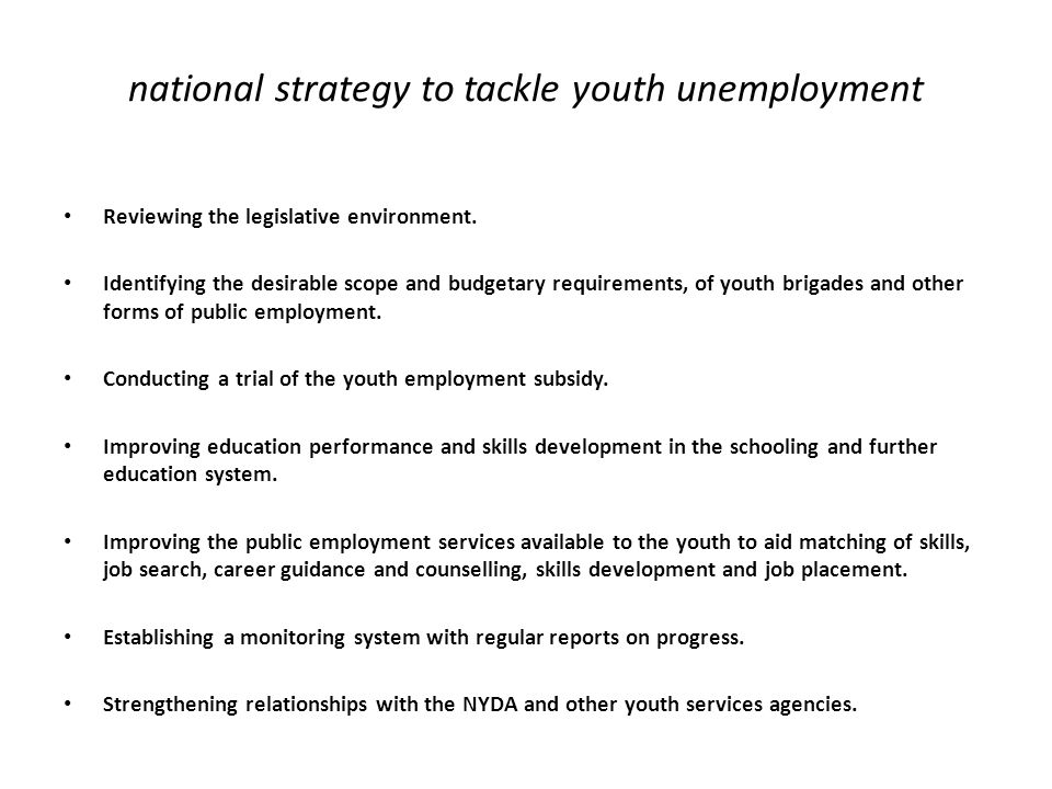 national strategy to tackle youth unemployment