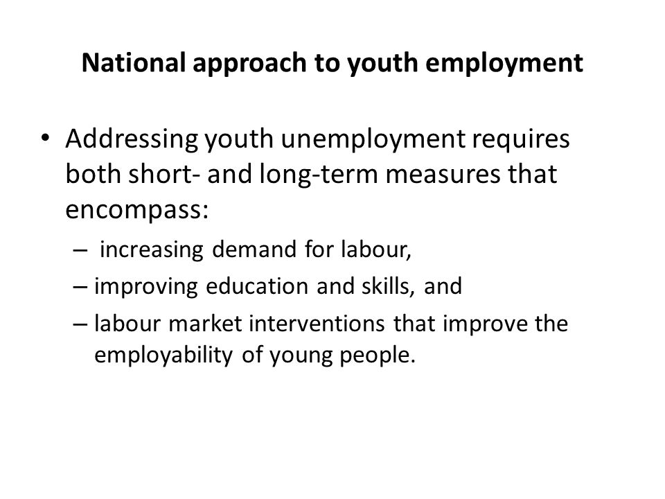 National approach to youth employment