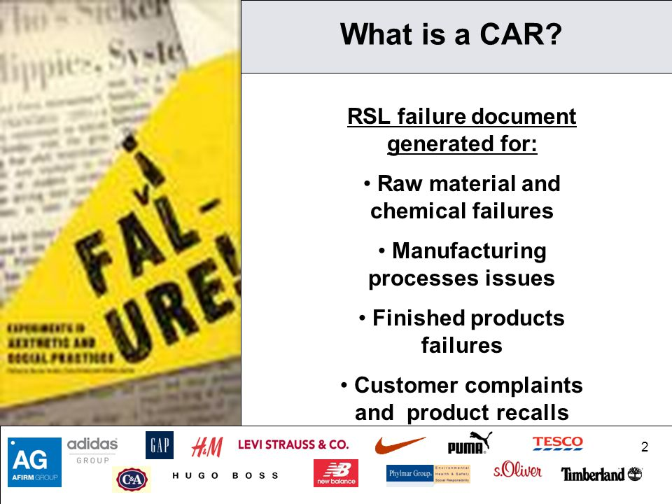 What is a CAR RSL failure document generated for: