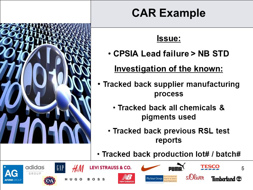 CAR Example Issue: CPSIA Lead failure > NB STD