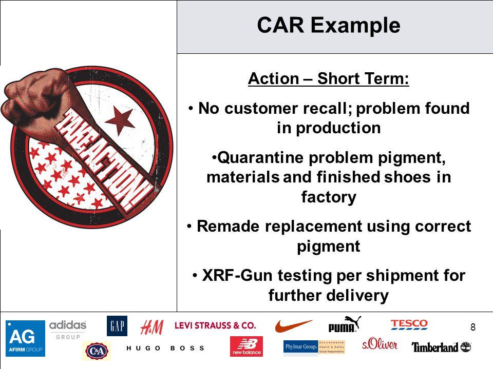 CAR Example Action – Short Term: